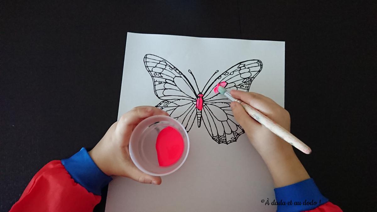 peindre un papillon en rose