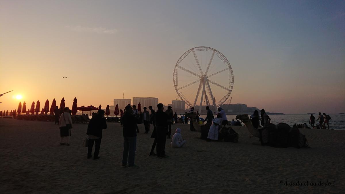 Coucher de soleil sur une plage de Dubaï