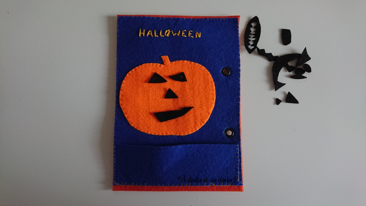 Page de Quiet Book : la citrouille de halloween