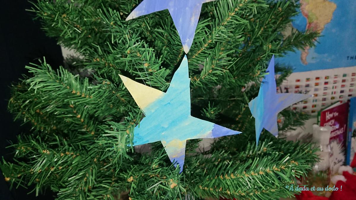 Nos étoiles en papier  pour décourer le sapin