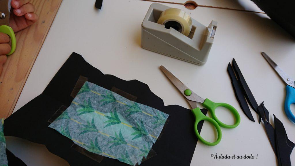 recouvrir les espaces vides avec du papier de soie